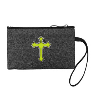 Neon Yellow Cross Black Vintage Leather ImagePrint Coin Wallet