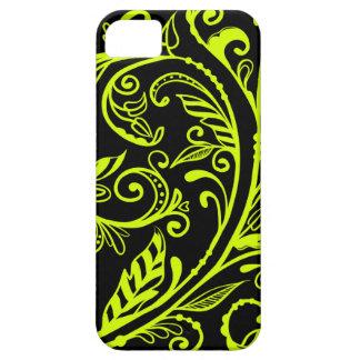 Neon Yellow Flourish on Black iPhone 5 case
