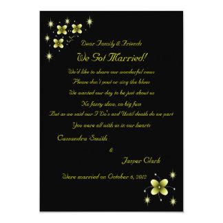 Neon Yellow Flower Sparkles Elopement 2 Card