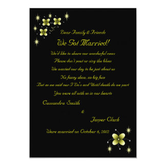 Neon Yellow Flower Sparkles Elopement 2 5x7 Paper Invitation Card