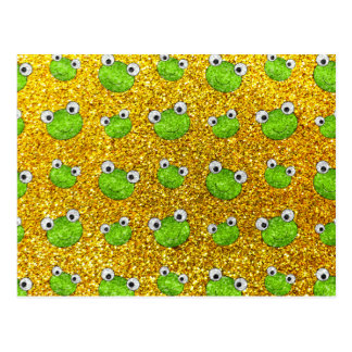 Neon yellow frog head glitter pattern postcard