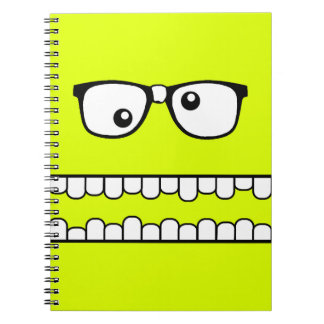 Neon Yellow Goofy Geeky Face Notebook
