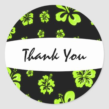 Beach Themed Neon Yellow Green Black Hibiscus Floral Sticker