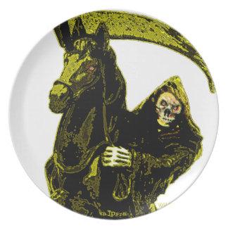 Neon Yellow Grim Reaper Horseman Series by Valpyra Dinner Plate