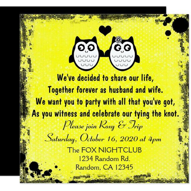 Of wedding invitation cards 63 on wedding invitation cards new designs - Neon Yellow Grunge Owl Punk Wedding Invitations Zazzle