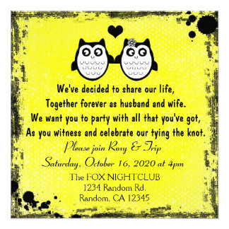 Neon yellow grunge owl punk wedding invitations