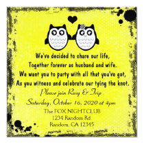 Neon yellow grunge owl punk wedding invitations