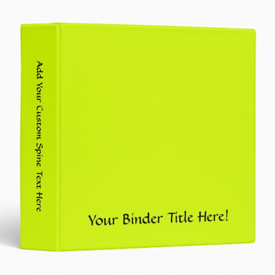 Neon Yellow, High Visibility Binder