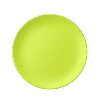 Neon Yellow, High Visibility Chartreuse Porcelain Plates