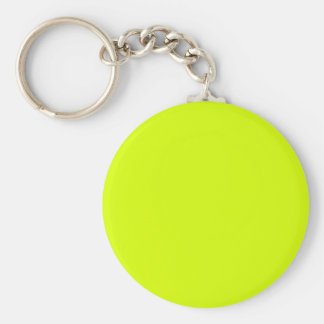 Neon Yellow, High Visibility Basic Round Button Keychain