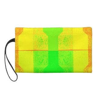 Neon Yellow Orange Green bag Wristlet Clutch