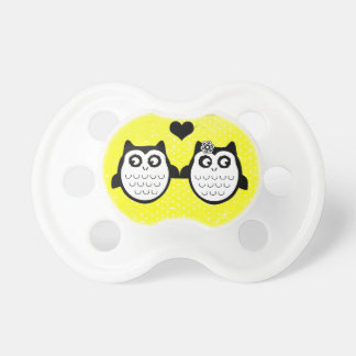 Neon yellow owl grunge couple baby pacifier