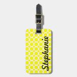 Neon Yellow Polka Dot Monogram Bag Tags