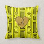 Neon yellow retro squares monogram pillow