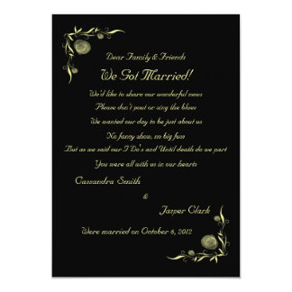 Neon Yellow Rosebuds and Leaves Elopement 2 Card