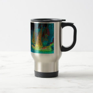 Neon Yellow Sails on a Moonlit Night Travel Mug