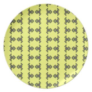 Neon Yellow Snake Pattern Design Melamine Plate