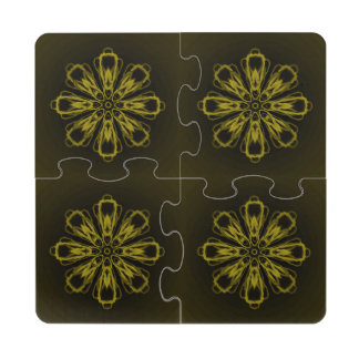 Neon Yellow Snowflake Puzzle Coaster by Janz