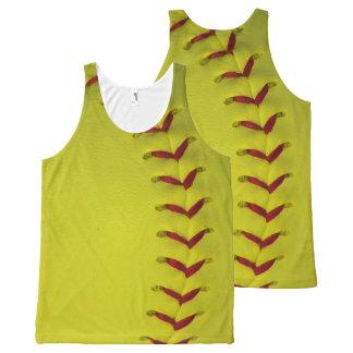 Neon Yellow Softball All-Over Print Tank Top