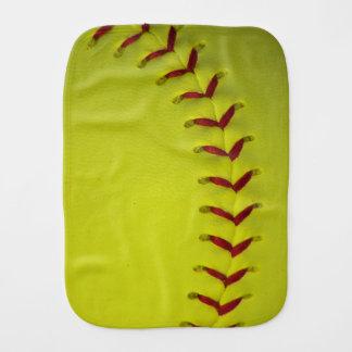 Neon Yellow Softball Burp Cloth