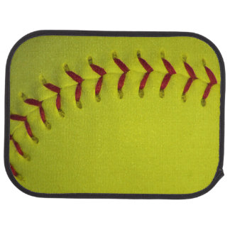Neon Yellow Softball Car Mat