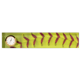 Neon Yellow Softball Desk Name Plate