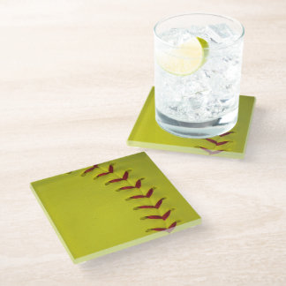 Neon Yellow Softball Glass Coaster