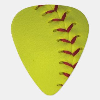 Neon Yellow Softball Guitar Pick