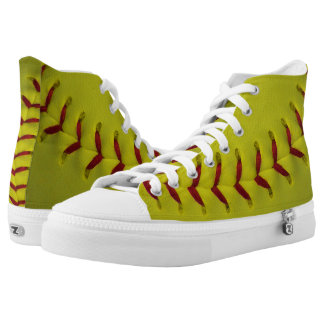 Neon Yellow Softball High-Top Sneakers