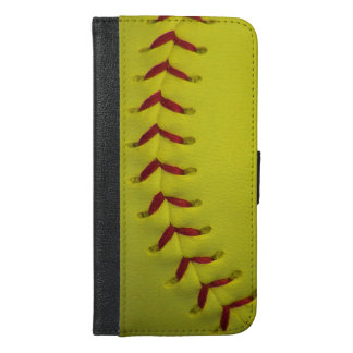 Neon Yellow Softball iPhone 6/6s Plus Wallet Case
