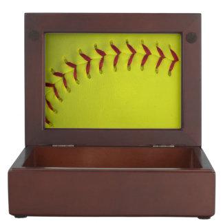 Neon Yellow Softball Keepsake Box