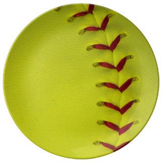 Neon Yellow Softball Porcelain Plates