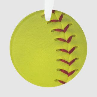 Neon Yellow Softball Ornament