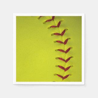 Neon Yellow Softball Paper Napkin