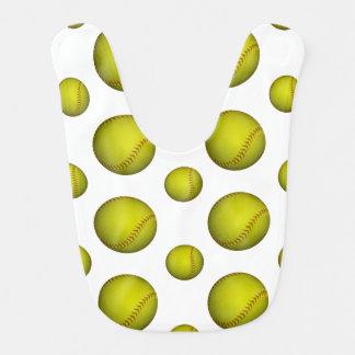 Neon Yellow Softball Pattern Baby Bib