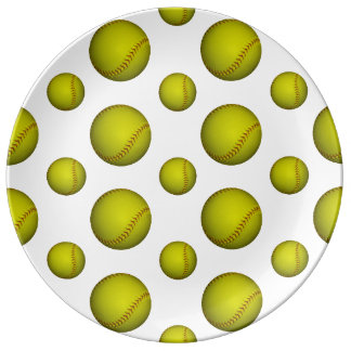 Neon Yellow Softball Pattern Dinner Plate