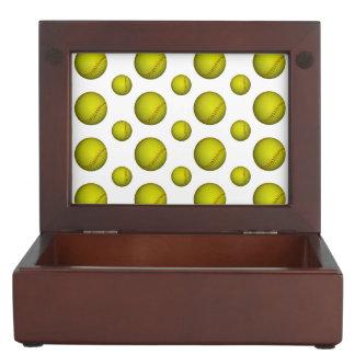Neon Yellow Softball Pattern Keepsake Box