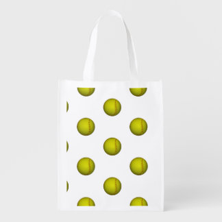 Neon Yellow Softball Pattern Market Totes