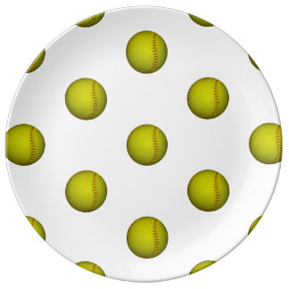Neon Yellow Softball Pattern Porcelain Plate