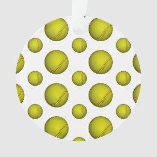 Neon Yellow Softball Pattern Ornament