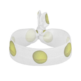 Neon Yellow Softball Pattern Ribbon Hair Tie