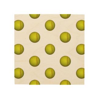 Neon Yellow Softball Pattern Wood Print