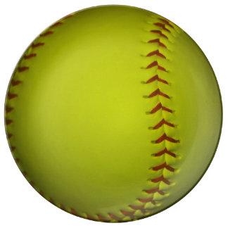 Neon Yellow Softball Porcelain Plate