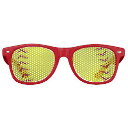 Neon Yellow Softball Retro Sunglasses