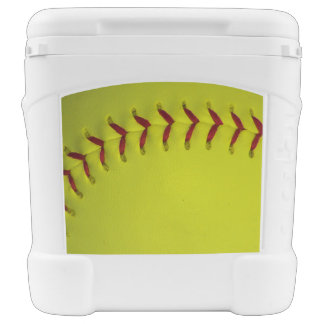 Neon Yellow Softball Rolling Cooler