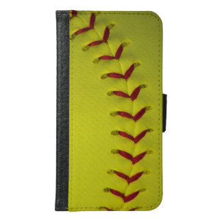 Neon Yellow Softball Wallet Phone Case For Samsung Galaxy S6