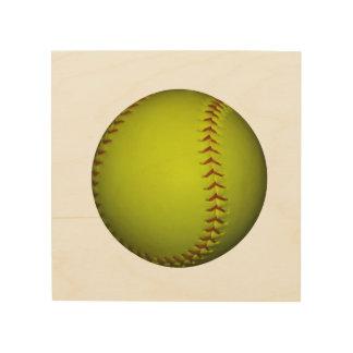 Neon Yellow Softball Wood Canvas