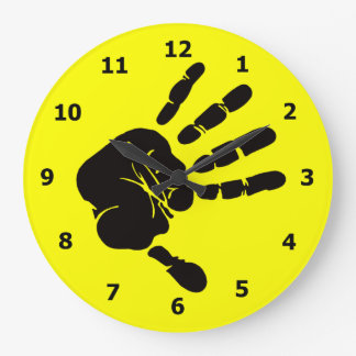 Neon Yellow Wall Clock with Black Hand Print