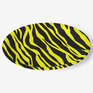 Neon Yellow Zebra Striped Paper Plate