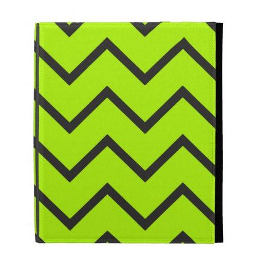 Neon Yellow Zigzag iPad Folio Cover